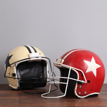 D American football helmet retro resin decoration old coffee shop Home Furnishing helmet decorations(China)