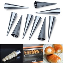 12pcs Large Size Stainless Steel Pastry Cream Horn Moulds Conical Tube Cone Danish Pastry Roll Horn Mold Kitchen Tool(China)