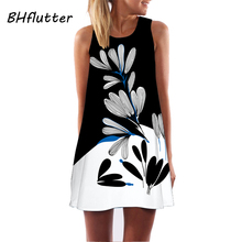 BHflutter Vestidos Women Dress 2017 New Style Chiffon Dress Floral Print Sleeveless Summer Dress Brief Casual Short Dresses(China)