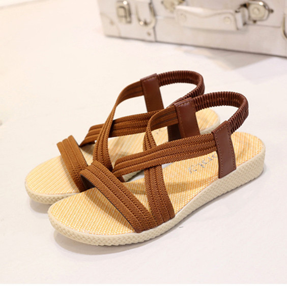2017 solid narrow band women flat sandals fashion summer gladiator sandals Rome style slip on women shoes beach walking flats<br><br>Aliexpress