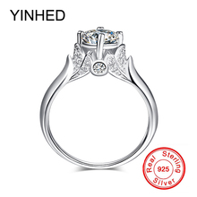 YINHED Fashion Swan Ring Jewelry 100% Solid 925 Sterling Silver 6mm Cubic Zirconia Engagement Wedding Rings for Women ZR383