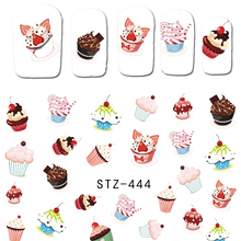 1Sheet Fruit Cake Nail Art Water Transfer Stickers Sweet Pattern Watermark Tattoo Nail Tips Decals DIY Decoration Tools BESTZ444