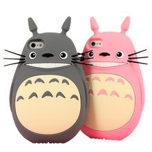 Free Shipping New Japan Cartoon Animals Cute 3D Totoro Cat Soft Silicone Case for Iphone 4 4s/5 5s/SE/6/6s/6plus/6s Plus/7/7Plus