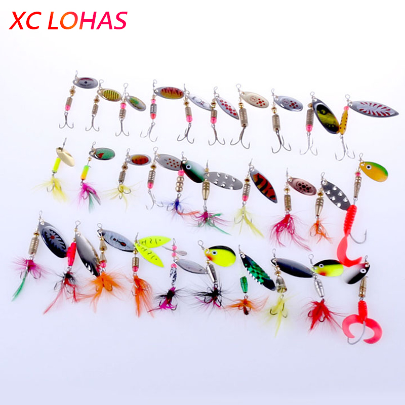 Hot 30pcs/lot Spinners Fishing Lure Mixed colorSizeWeight Metal Spoon Lures hard bait fishing tackle Free Shipping Atificial<br><br>Aliexpress