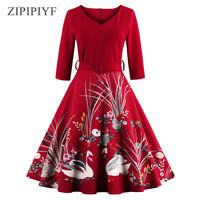 ZIPIPIYF-2017-New-Vintage-Dress-Style-Floral-Print-Robe-High-Waist-Women-Three-Quarter-autumn-party.jpg_200x200
