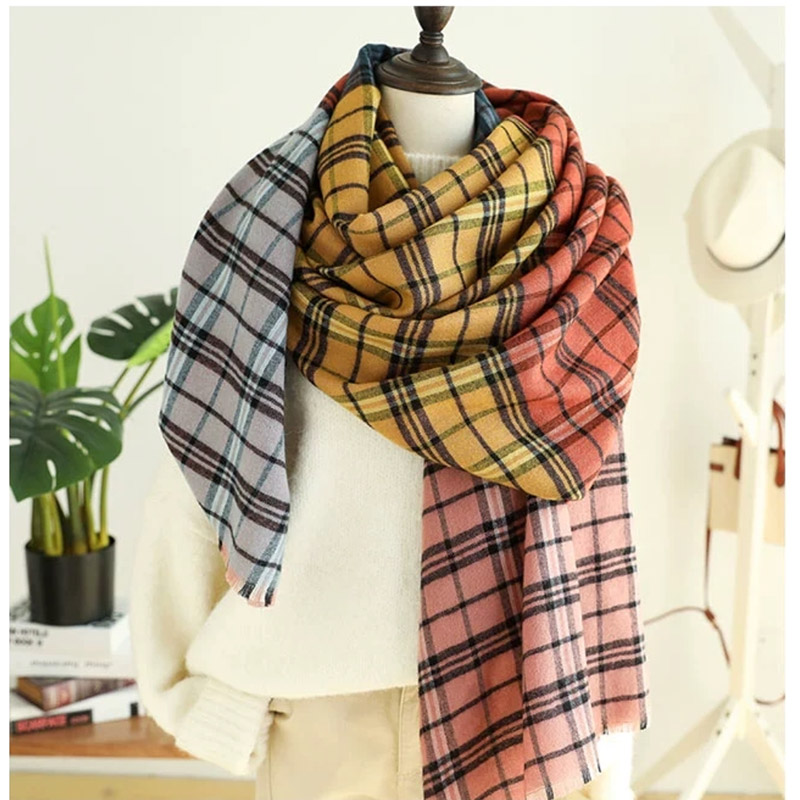 2018 Winter Plaid Scarf British Style Men Women Cashmere Scarf High Quality Fashion Classic Colored Plaid Scarf Large Size Shawl