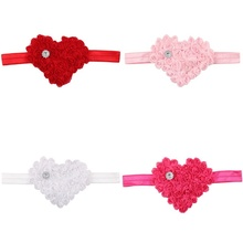 1pc Fashion Hair Head Bands Hairbands Beautiful Lovely Lace Flower Heart Headbands Headwear Hair Accessories For Children
