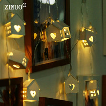 ZINUO 10PCS/20PCS Wooden House Shape Fairy String Lingts with Battery Box Christmas Lights for Holiday Wedding Party Decoration(China)