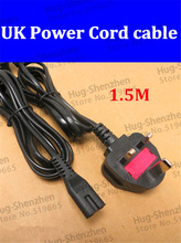 Hot Selling 5pcs/lot 1.5M Power Cord Cable Lead UK plug 2-Prong Power Cable Laptop Adapter High Quality with 3A fuse