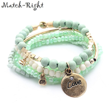 Match-Right Women Bohemia Jewelry of Multilayer Elastic Weave Set Bracelets & Bangles with Coin Charm Wrap Beads Bracelet LG-074