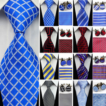Suit Necktie Ties for Men Gravatas Mens Accessories Wide Silk Tie Set Geometric Plaid Business Hanky Handkerchief Cufflinks SNT