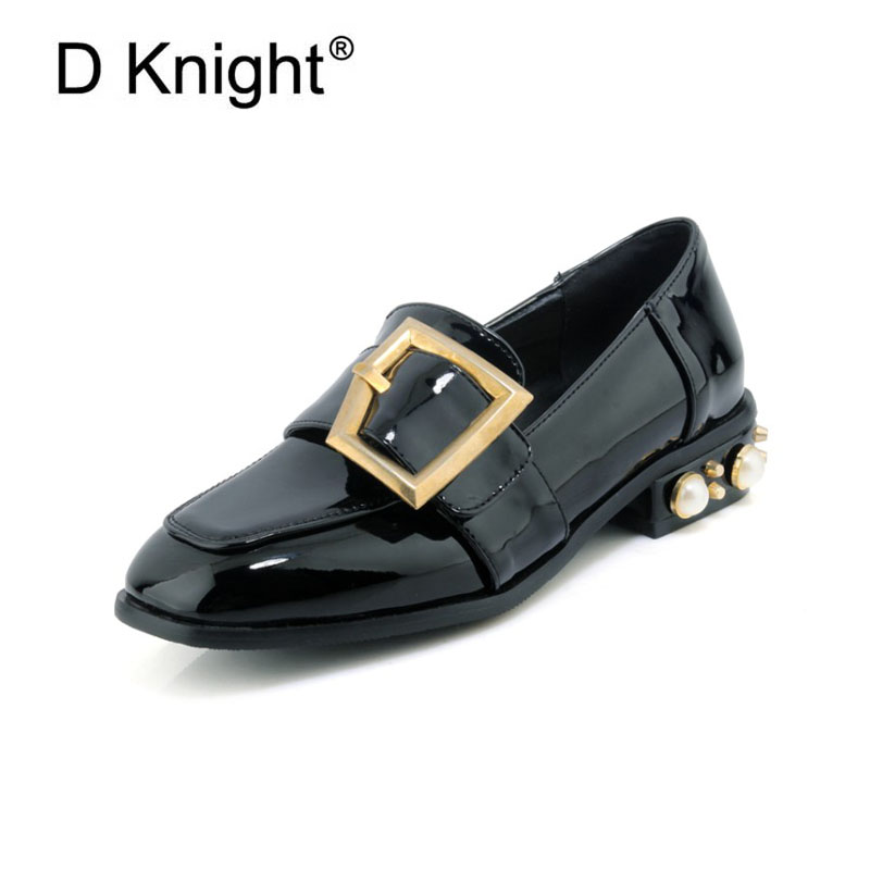 New Pearl Rivet Decoration Women Loafers Fashion Big Metal Buckle Loafers For Women Ladies Casual Slip-on Shoes Size 33-45<br>