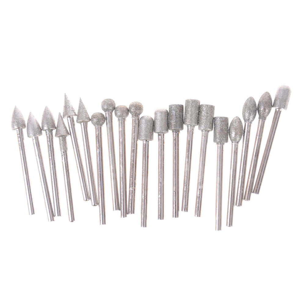 20pcs/set Emery Grinding Head For Dremel Rotary Tools Durable Shank Diamond Burr Bit Cut Engraving Carving Rotary Drill Bits 3mm
