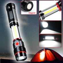 Mini 2 In 1 COB LED Flashlight Torch Stretchable Black 300LM Magnetic Working Lamp lanterna Camping Light Inspection Pen Lamp(China)