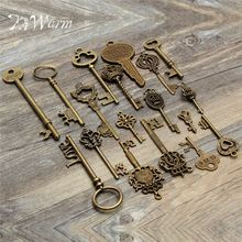 KiWarm 18pcs Antique Vintage Old Look Skeleton Key Pendant Heart Bow Lock Steampunk Necklace DIY Jewerly Crafts Ornament(China)
