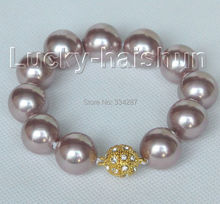 "8"" 16mm round purple seashell pearls Bracelet magnet clasp"