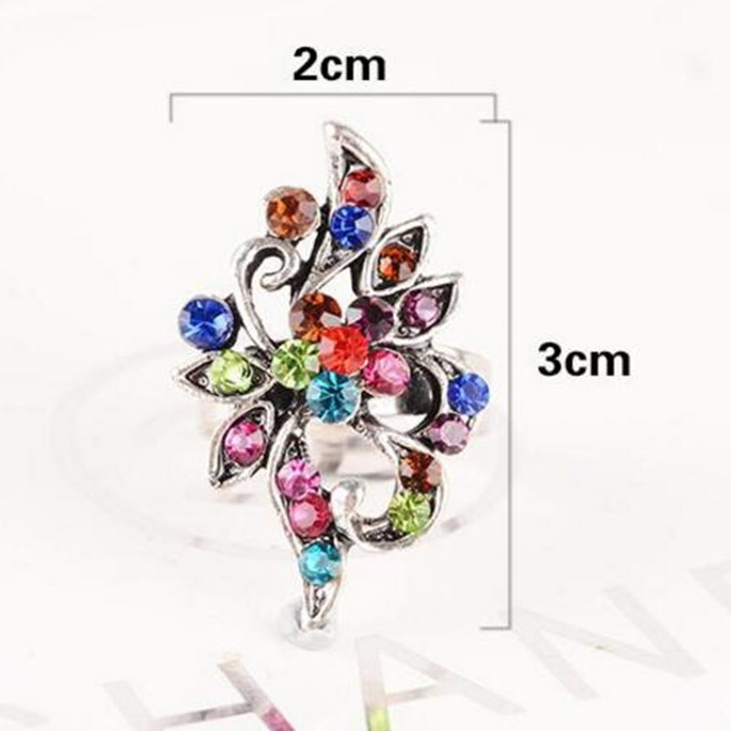 2cmx3cm Flower ring among Color Crystal Peacock Ring