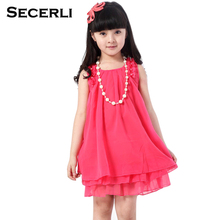 2017 Sleveless Girls Princess Dress For 2 to 12 Years Kids Girls Summer Dresses Pearl Necklace Lace Chiffon Girls Dresses