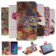 Colorful Painting Stand Flip Leather Cover Case For Samsung Galaxy J1 J3 J5 2016 J120 J510 Phone Cases Wallet With Card Holder(China)