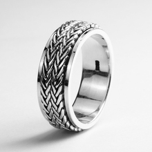 925 Sterling Silver Jewelry Handmade Rotatable Rings For Men And Women Vintage Thai Silver Hemp Rope Design Mens Ring(China)