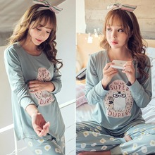 Spring & Autumn Winter Girl Long Sleeve Pajamas For Women Lovely Cartoon Women Clothing Sleepwear with round neck