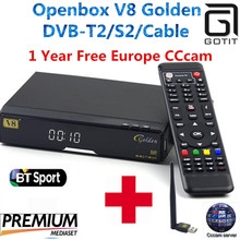 GOTiT Openbox V8 Golden DVB-S2/ DVB-T2 DVB-C Receptor satellite Decoder with 1year Europe cccam Cline 1 USB WIFI set top box