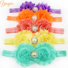 1PC 15colors 2017 Little Girls And Kids Pearl Diamond Two Shabby Flowers Elastic Headband Hair Accessories