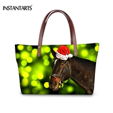 INSTANTARTS Crazy Horse Printed Large Capacity Women Handbags for Ladies Travel Fashion Tote Bags Christmas Red Hat Shoulder Bag(China)