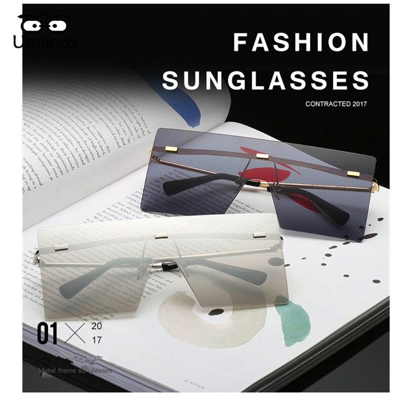5b9647f02b Umanco Big Square Rimless Sunglasses Women Men Vintage Fashion Metal ...