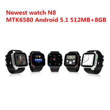 2017 New Arrival N8 MTK6580 Quad Core 3G Smart Watch Android 5.1 512MB/8GB GPS WiFi Bluetooth Pedometer Battery 600mAh PK S99A
