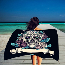 Rectangle Beach Towel Skull Rose Printed Pattern Bikini Shawl Girls Bath Towel Summer Outdoor Sun Block Yoga Cushion ZQ985617