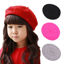 Fashion Woolen Children Girls Cap with Pearls Candy Color Retro Baby Beret Hat for 3-8 Years 1PC