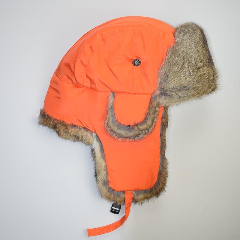 rabbit fur hat orange