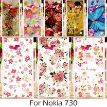 Akabeila Phone Case For Nokia Lumia 730 N730 735 Phone Cover Silicon Soft TPU Back Colorful Rose Peony Flower Patterns(China)
