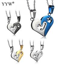 YYW Stainless Steel Mens Womens Couple Necklace Pendant Heart Love I love you Pendants Necklaces Puzzle Matching Fashion Jewelry(China)