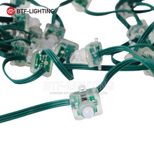 Wholesale 50Pcs Green Wire DC5V WS2811 Square shape Full Color RGB Strings Node LED Pixels Modules Addressable IP68 Waterproof