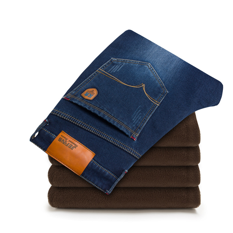 Hot plus velvet thicken pants warm straight jeans mens high stretch demin pants slim fleece winter jeans plus size 42Îäåæäà è àêñåññóàðû<br><br>
