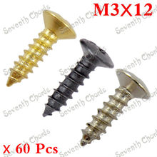 60 Pcs Electric Bass Guitar Pickguard Screws Cavity Cover Jack Cover Plate screw  M3*12MM /  Chrome Black  Gold for choose