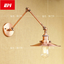 Retro Swing Arm Led Wall Lamp Shade Wall Sconces Wall Mount Wall Lights For Home E27 Bulb bedside lamp Red Light fixture(China)