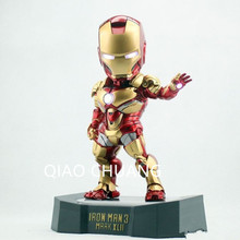 NEW Egg Attack Iron Man Mark 42 Movie Action Figure Collectible Toy Model Eye Pit Palm Give Out Light Fashion Decoration G30(China)