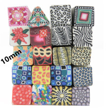 10pcs/set 10mm 20 Mix Designs 3D Nail Art Square Fimo Bar Animal Prints Tiger Leopard Fancy Canes Rods Nail Decoration