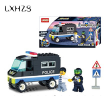 Police Plastic Cruiser Car Toy Building Truck Bricks Blocks Children Kids Educational Toys Birthday Gifts