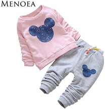 Menoea 2017 Spring Casual Style Baby Girl Clothes Baby Clothing Sets Cartoon Printing Sweatshirts+Pants 2Pcs for Baby Clothes