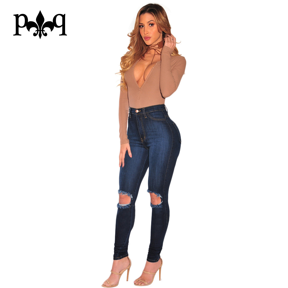 Women High Waist Jeans Plus Size Ladies Pencil Pants Sexy Knee Hole Casual Wear Ripped Denim Jeans Women Vaqueros MujerОдежда и ак�е��уары<br><br><br>Aliexpress