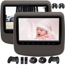 2 IR Headphone as Free Gift! Pair of Digital LCD Screen Auto Monitor Car Headrest DVD Player support HDMI AV Input&output USB/SD