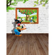 Vinyl Photography Background Mickey Mouse and Donald Duck Computed Printed Children Carton Backdrops for Photo Studio S-2435