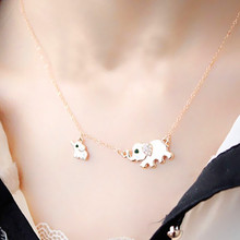 Cute Elephant Family Stroll Design Fashion Women Charming Crystal Chain Necklace Choker necklace Free shipping  X124