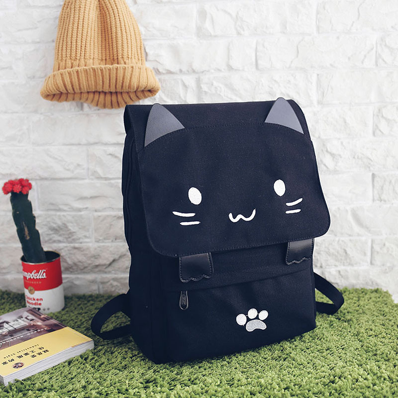 Unisex Leisure Canvas Computer Backpack South Korea Cute Cartoon Embroidery Kitten Double Shoulder Bags<br><br>Aliexpress
