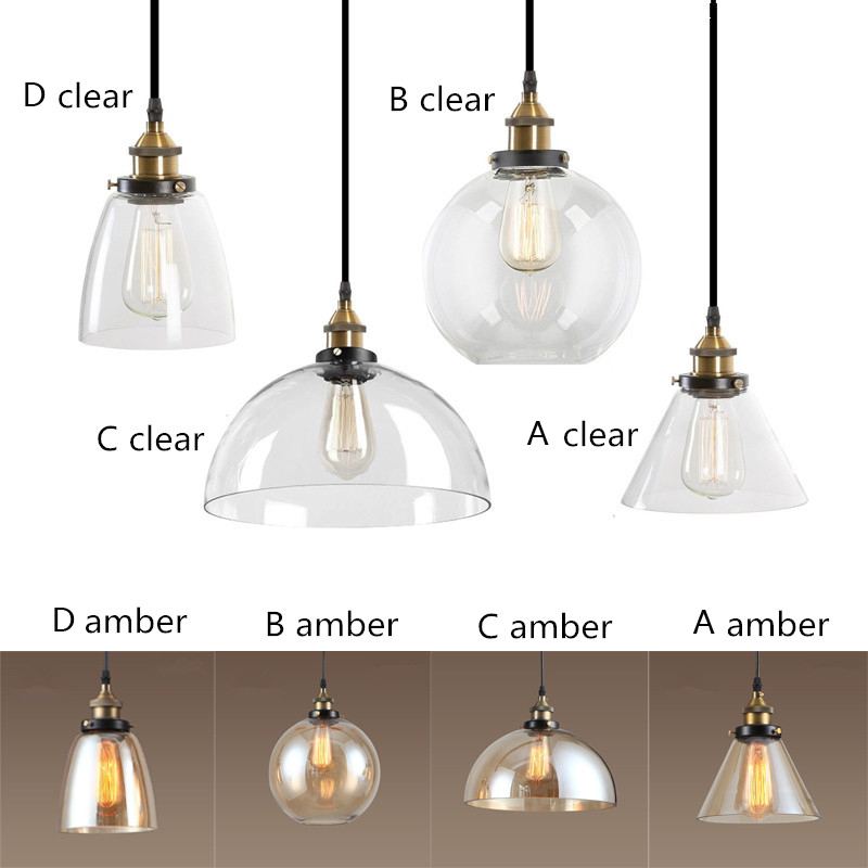 Amber/Clear Glass Shade Pendant Lights Industrial Lighting Fixtures Kitchen Home Modern LED Light Vintage Pendant Ceiling Lamp<br>