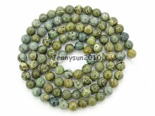 Natural Green Bre Ja-sper Gems Stone Round Spacer Beads 16'' 4mm 6mm 8mm 10mm 12mm for Jewelry Making Crafts 5 Strands/Pack(China)